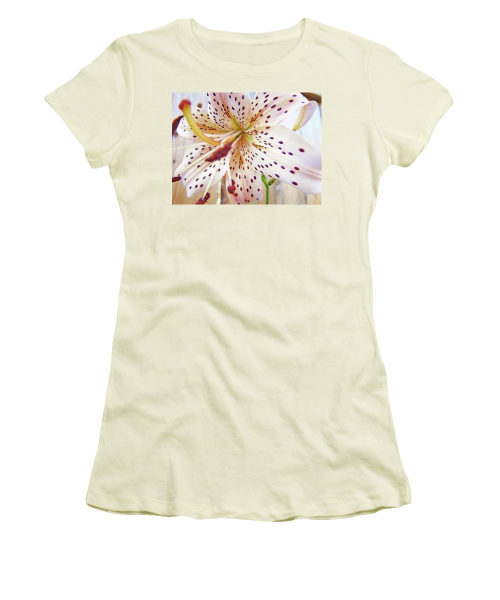 Lilies Women's T-Shirt (Athletic Fit) featuring the photograph Lily Flower White Lilies Art Prints Baslee Troutman by Baslee Troutman
