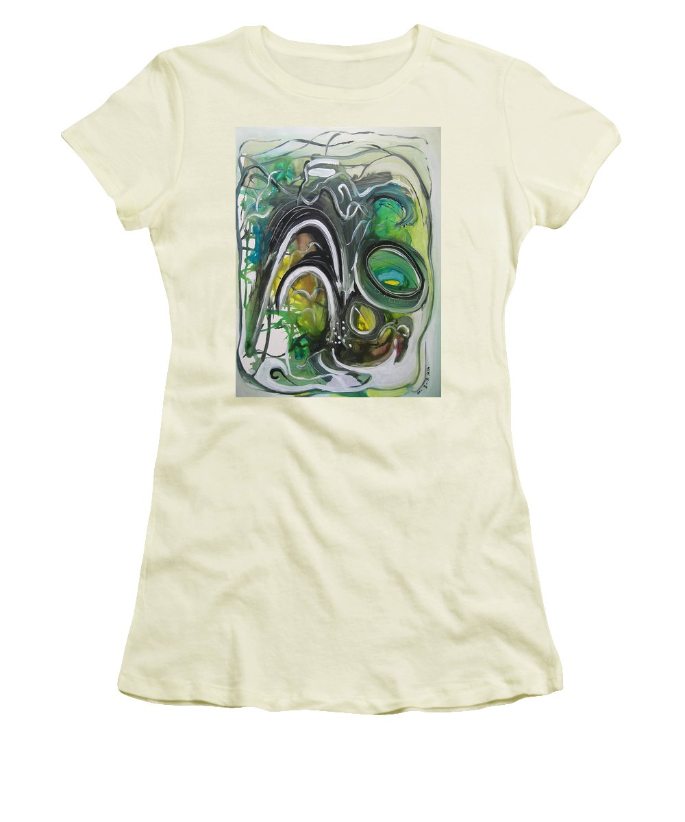 Abstract Paintings Women's T-Shirt (Athletic Fit) featuring the painting little impression on Alexander trail by Seon-Jeong Kim