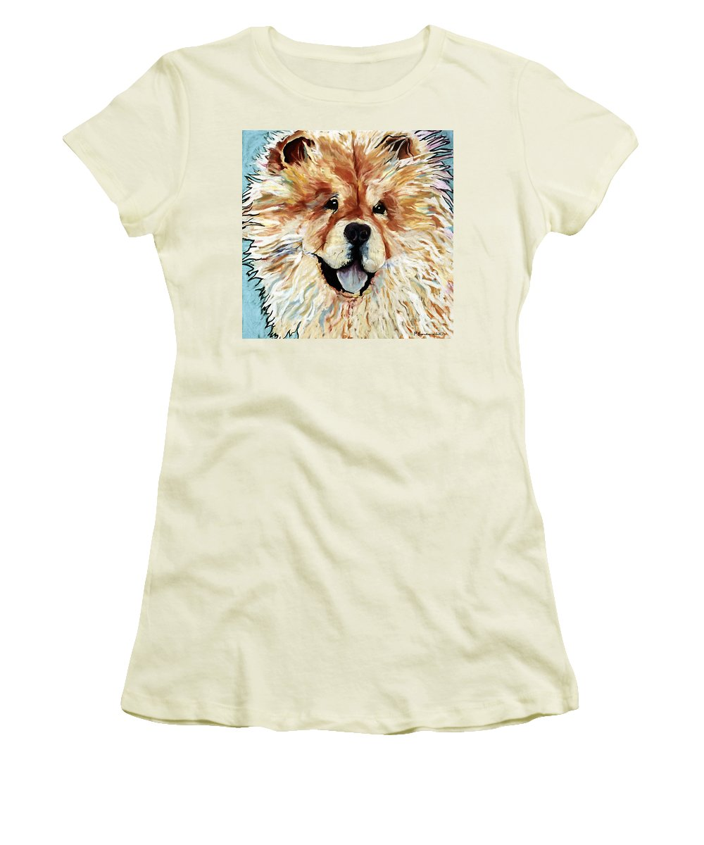 Chow Chow Women's T-Shirt (Athletic Fit) featuring the pastel Madame Chu Cho by Pat Saunders-White