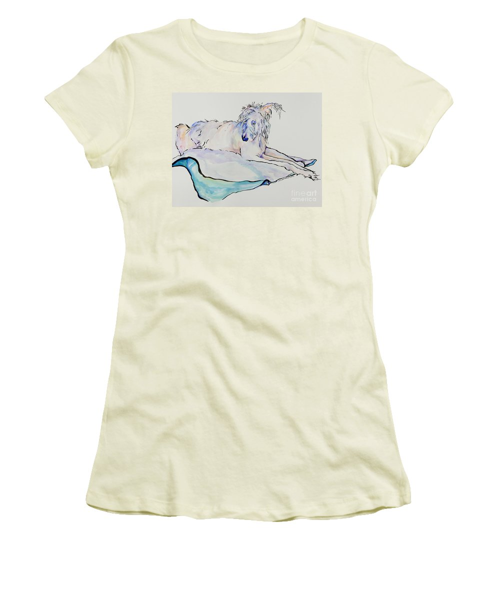 Animal Portrait Women's T-Shirt (Athletic Fit) featuring the painting Maevis by Pat Saunders-White
