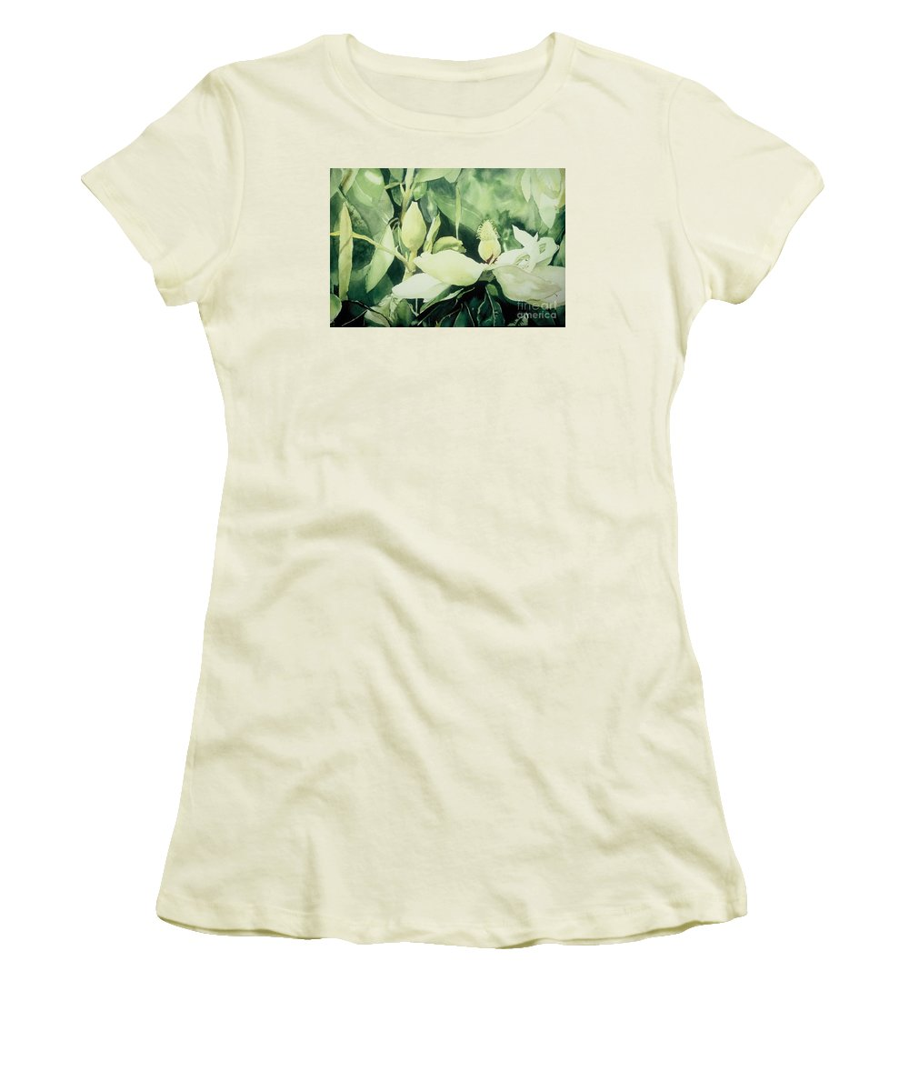 Magnolias Women's T-Shirt (Athletic Fit) featuring the painting Magnolium Opus by Elizabeth Carr