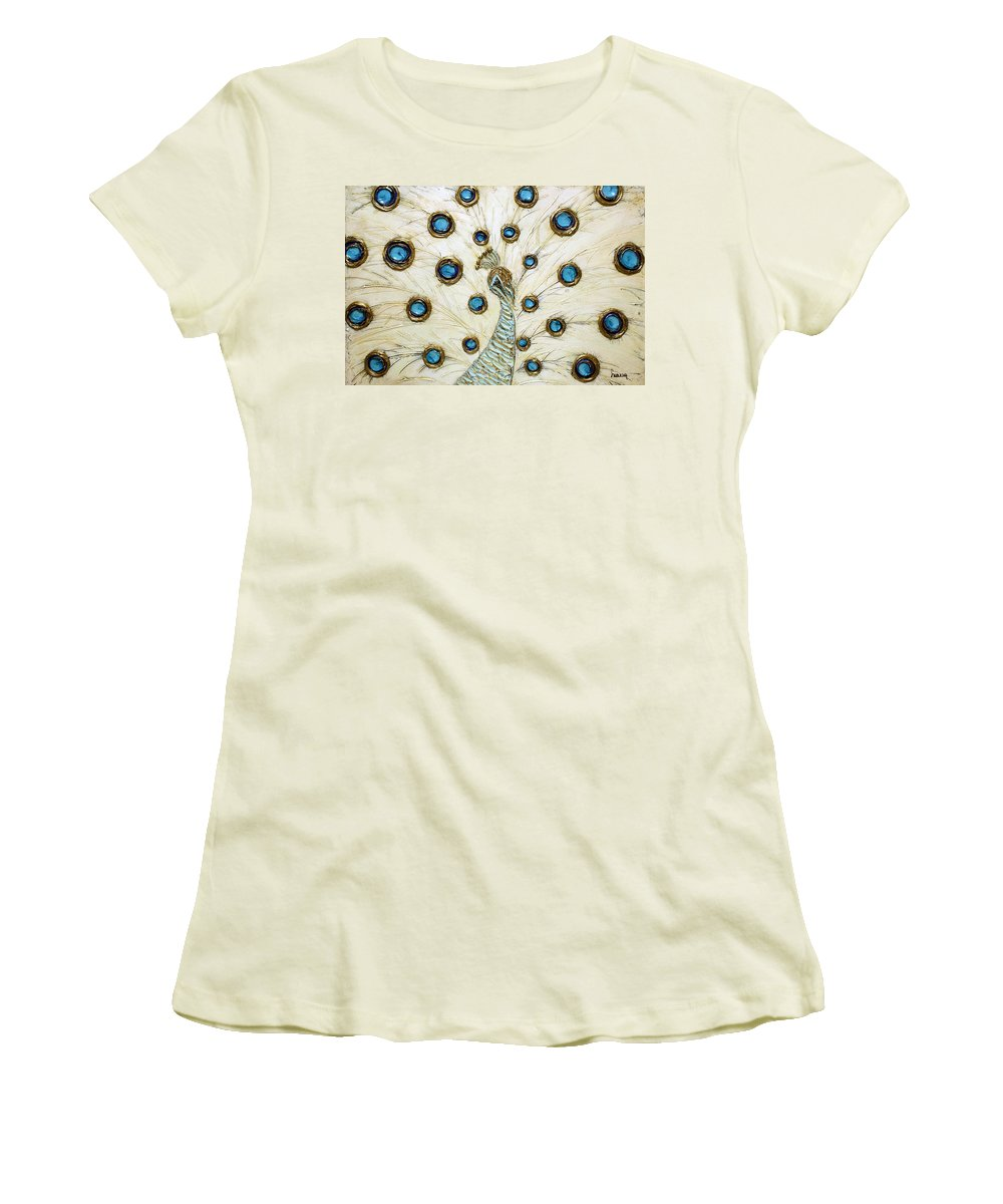 Peacock Women's T-Shirt (Athletic Fit) featuring the painting Majestic by Susanna Shaposhnikova