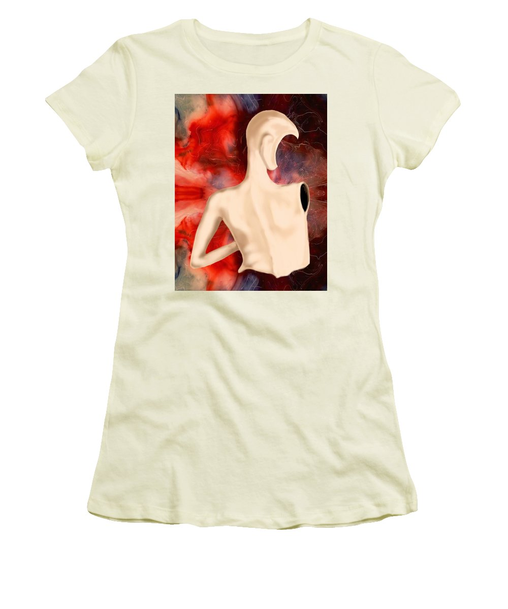 Woman Fashion Naked Surreal Abstract Women's T-Shirt (Athletic Fit) featuring the digital art Manequin by Veronica Jackson