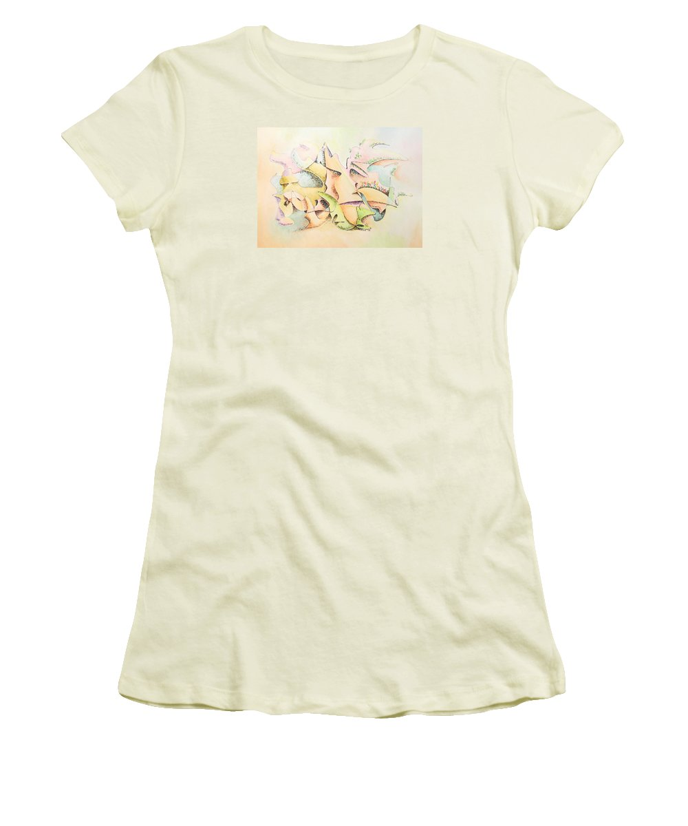 Watercolor Women's T-Shirt (Athletic Fit) featuring the painting Mask by Dave Martsolf