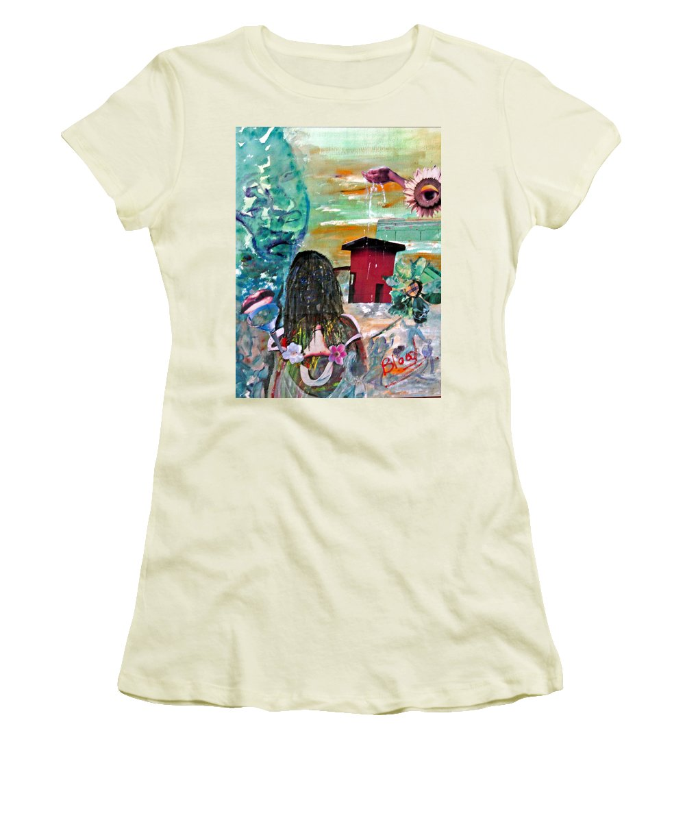 Water Women's T-Shirt (Athletic Fit) featuring the painting Masks Of Life by Peggy Blood