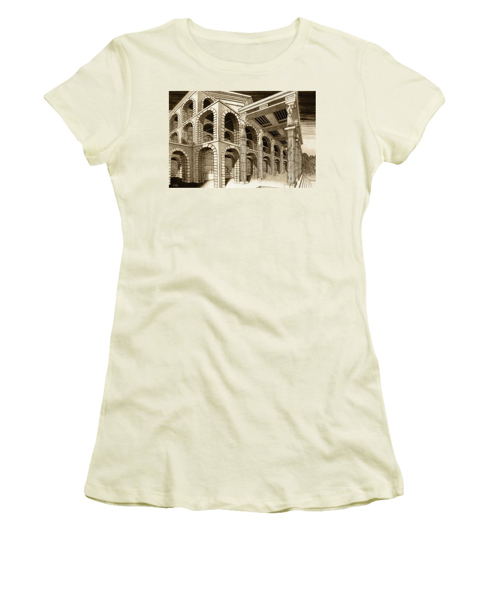 Mithlond Women's T-Shirt (Athletic Fit) featuring the drawing Mithlond Gray Havens by Curtiss Shaffer