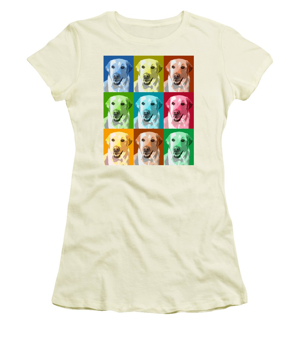 Americana Women's T-Shirt (Athletic Fit) featuring the photograph Golden Retriever Warhol by Marilyn Hunt