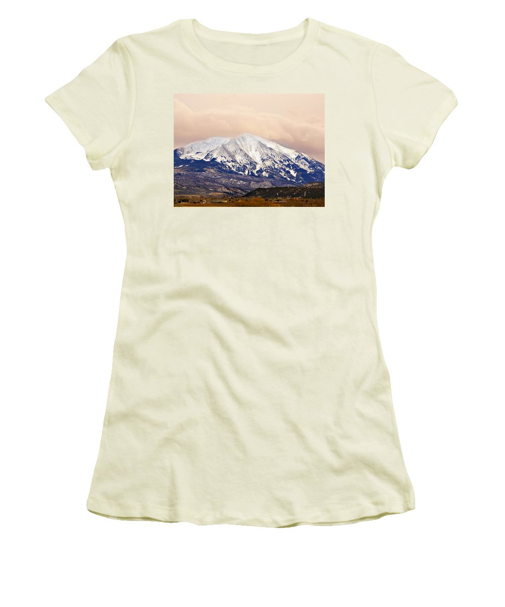 Americana Women's T-Shirt (Athletic Fit) featuring the photograph Mount Sopris by Marilyn Hunt