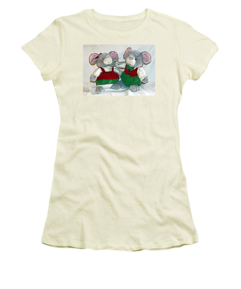 Mouse; Mice; Christmas; Rodent; Bear; Bare; Love; Lovers; Baby; Young; Boy; Girl; Affection; Animal; Women's T-Shirt (Athletic Fit) featuring the photograph Mouse Love by Allan Hughes