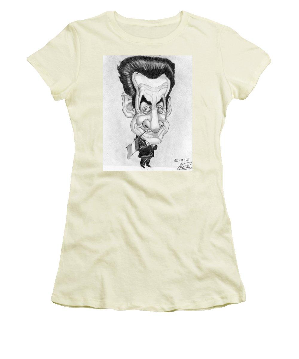 Mr Nicolas Sarkozi Women's T-Shirt (Athletic Fit) featuring the drawing Mr Nicolas Sarkozi Caricatur Portrait by Alban Dizdari