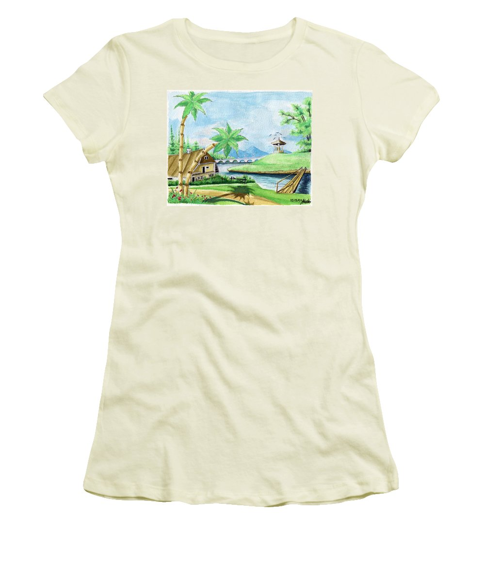 Landscape Women's T-Shirt (Athletic Fit) featuring the painting My First Landscape Watercolor Painting At The Age Of 18 by Alban Dizdari