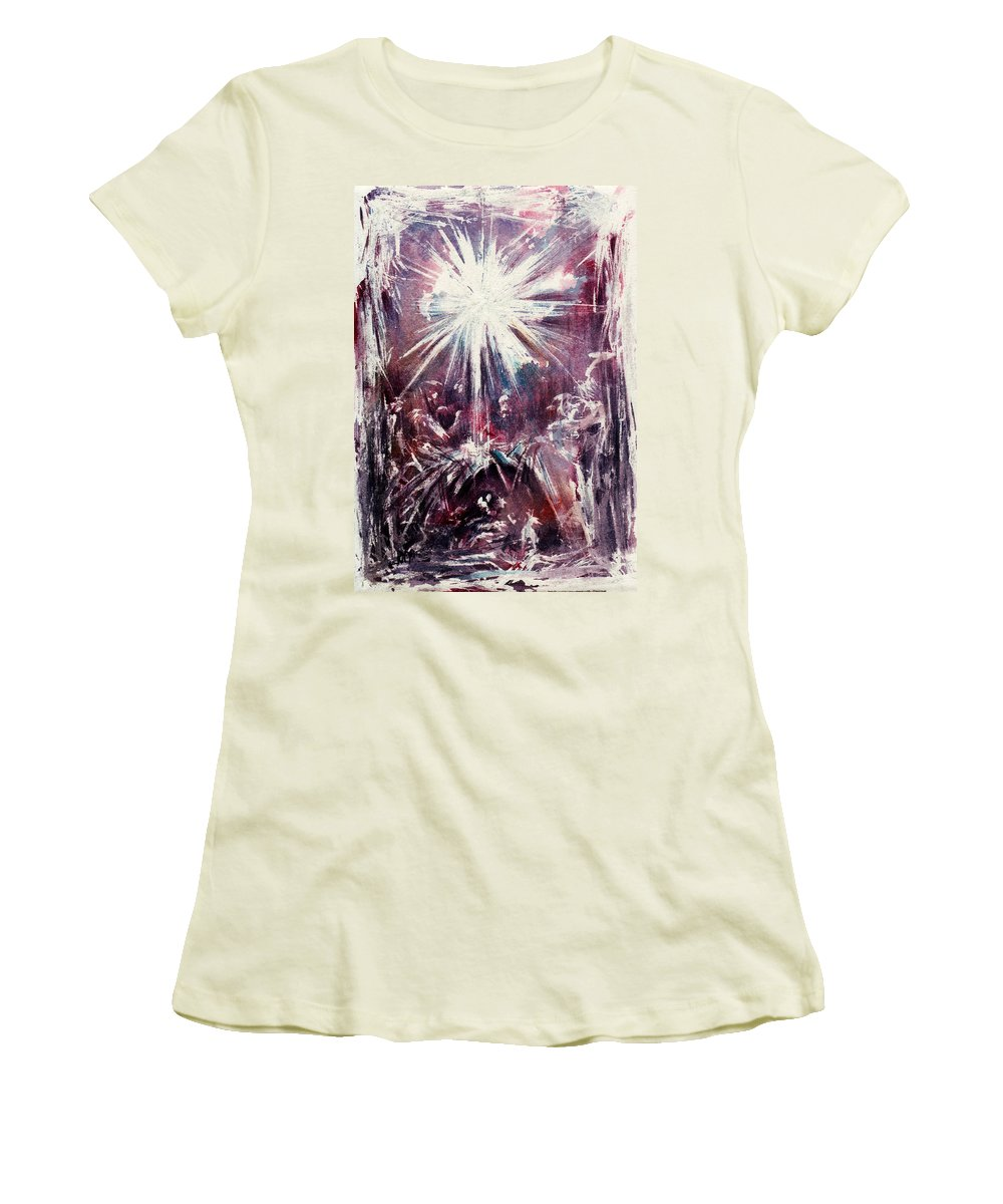 Nativity Women's T-Shirt (Athletic Fit) featuring the painting Nativity 1 by Rachel Christine Nowicki