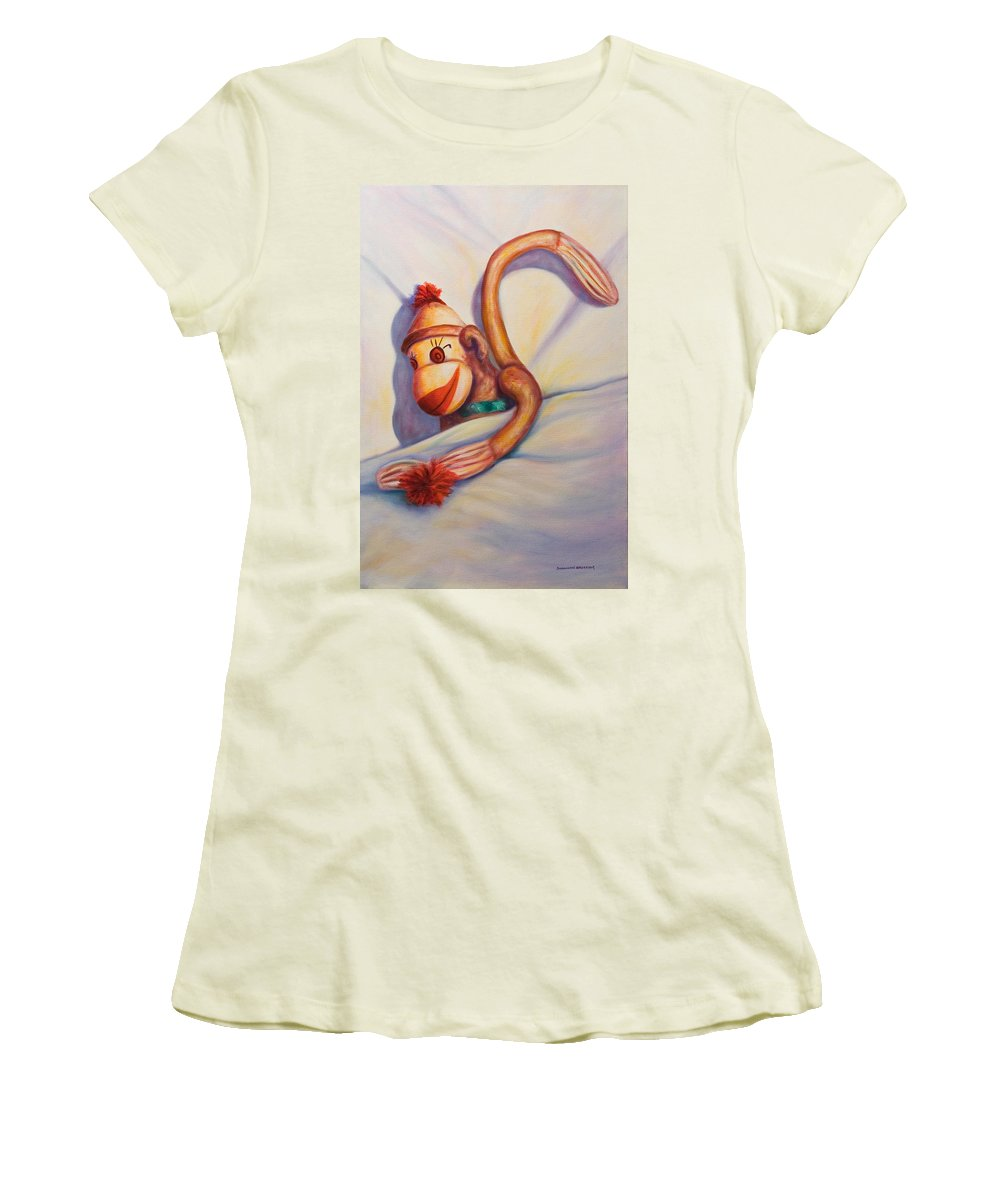 Children Women's T-Shirt (Athletic Fit) featuring the painting Night Night Sock Monkey by Shannon Grissom