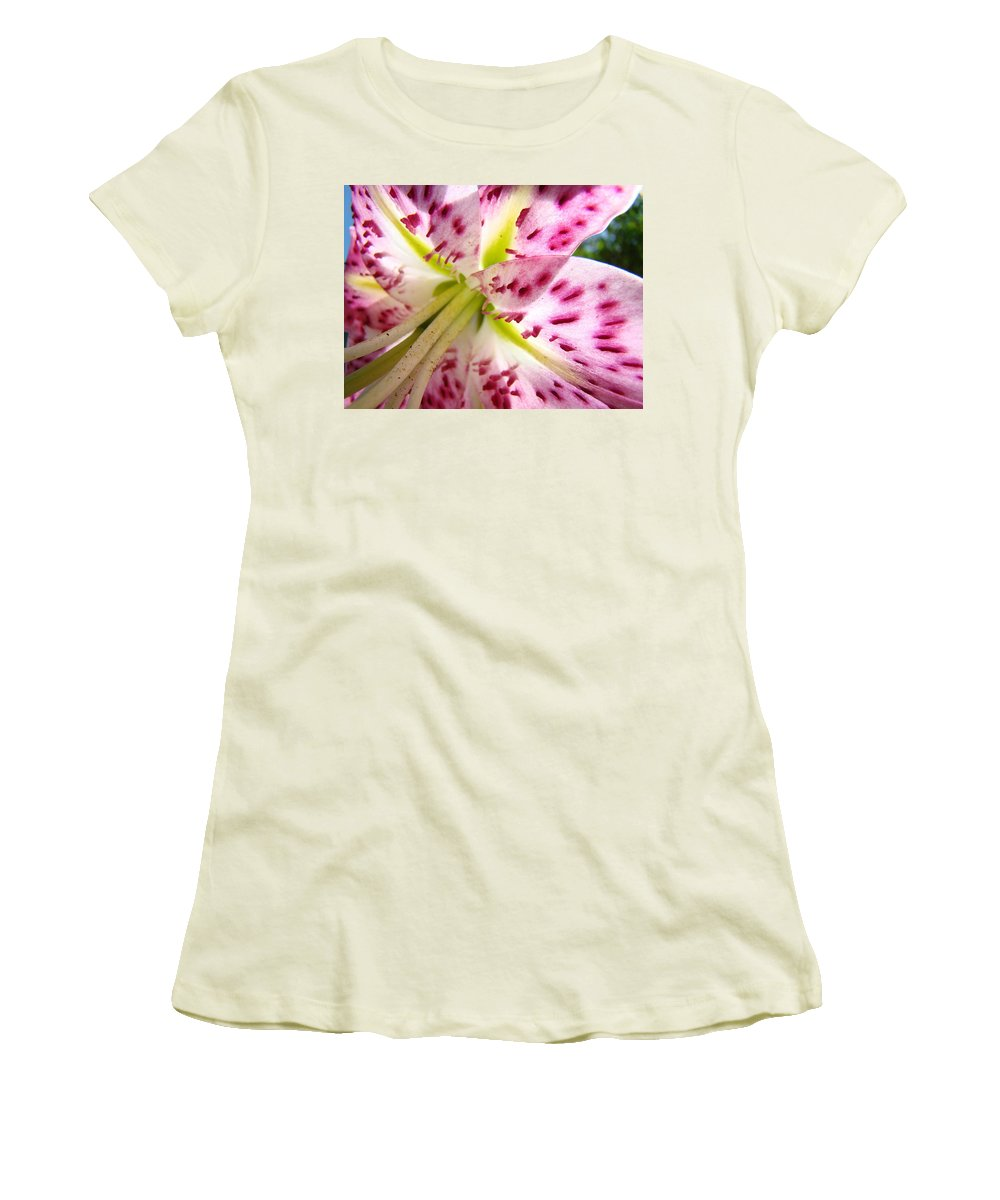 Lilies Women's T-Shirt (Athletic Fit) featuring the photograph Office Art Lily Flower Giclee Prints Pink Lilies Baslee Troutman by Baslee Troutman