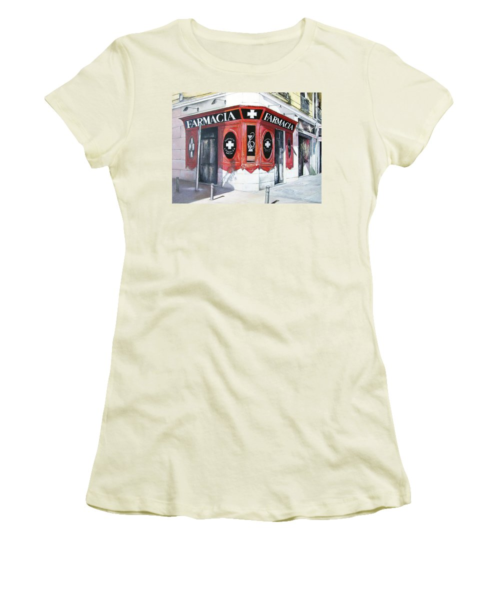 Pharmacy Women's T-Shirt (Athletic Fit) featuring the painting Old Pharmacy by Tomas Castano