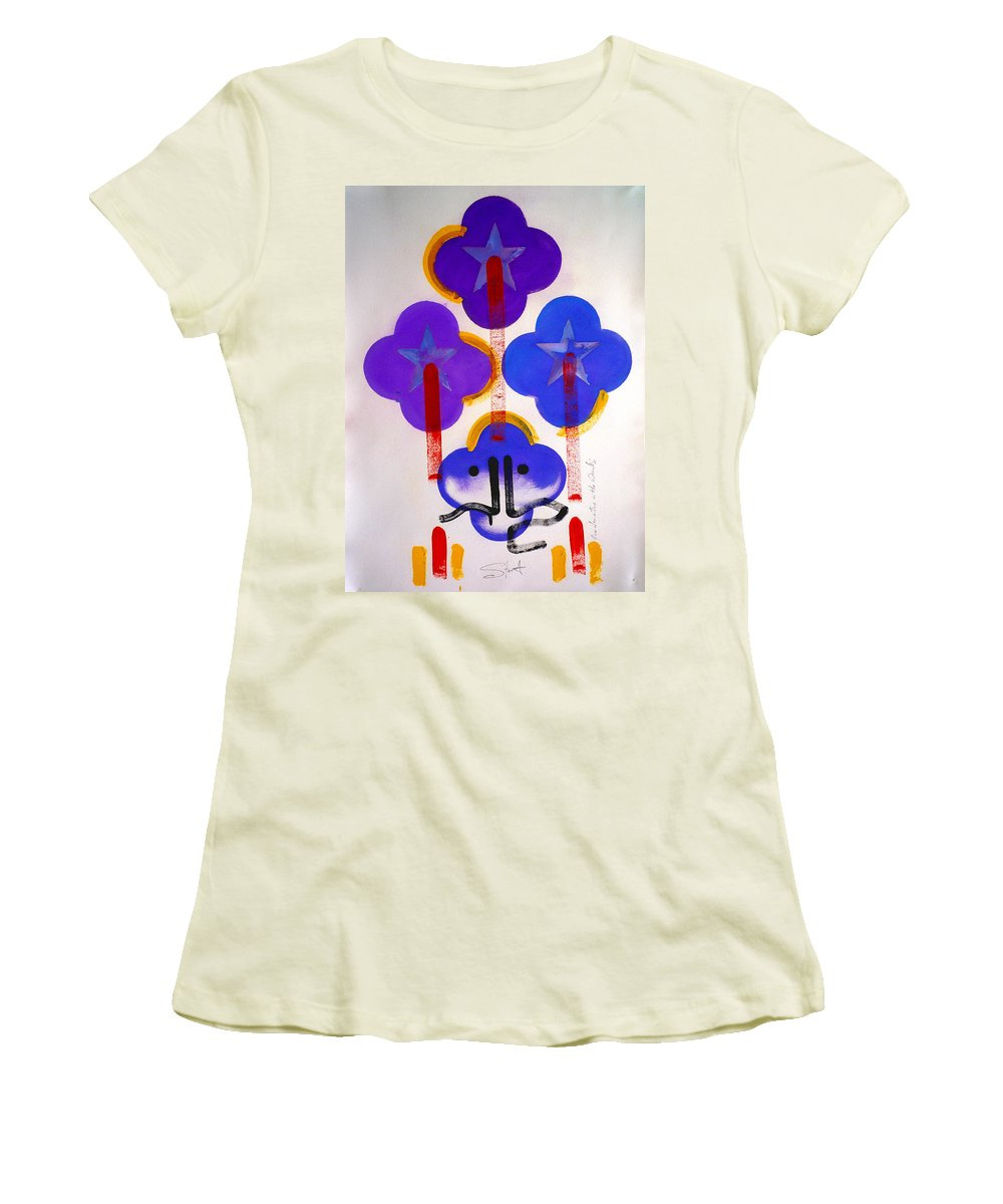 Drawing Women's T-Shirt (Athletic Fit) featuring the painting Once Upon-a-time In The Woods by Charles Stuart