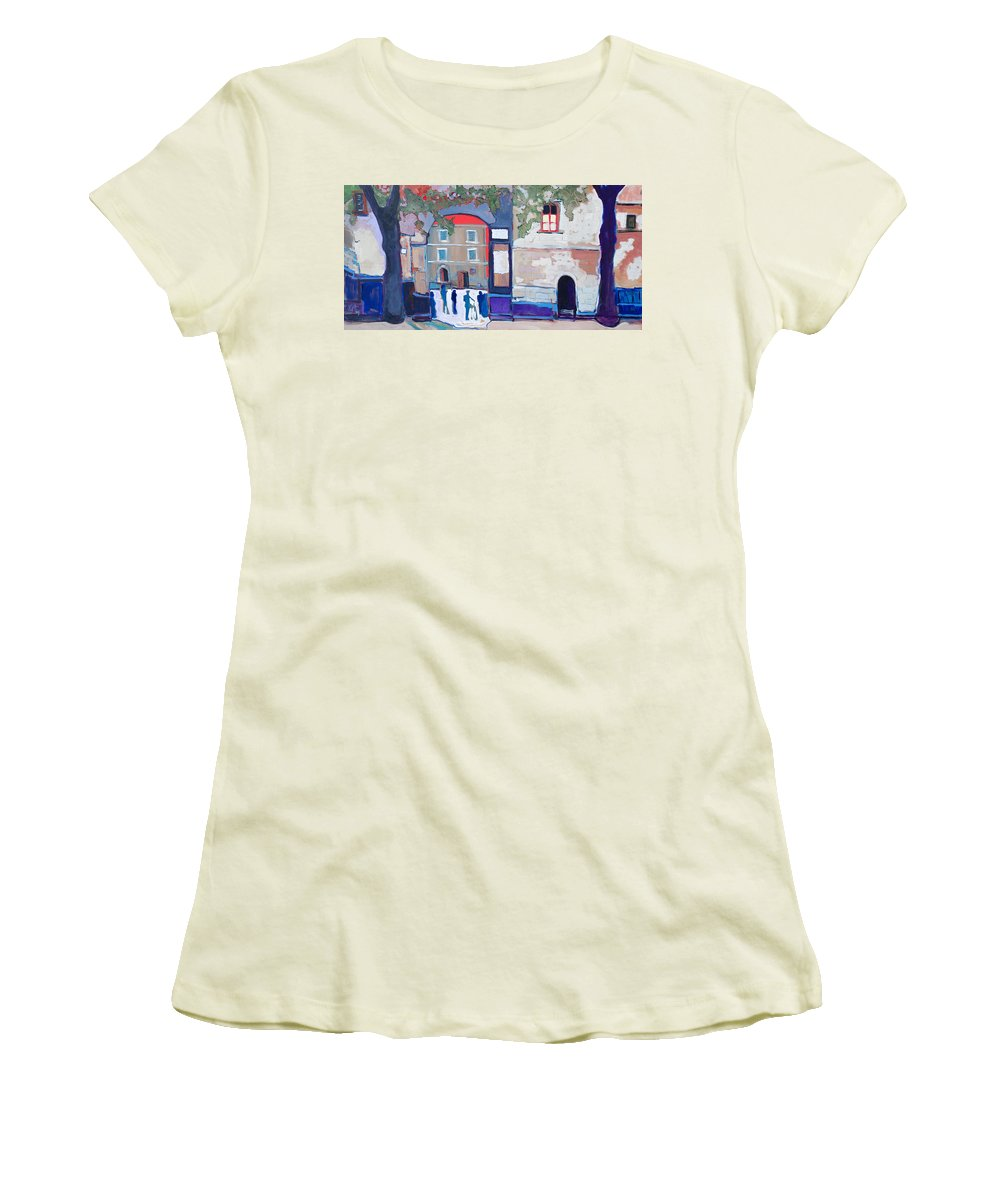 Village Women's T-Shirt (Athletic Fit) featuring the painting Palazzo Di Villafranca by Kurt Hausmann