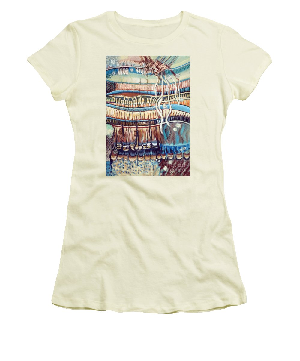 Abstract Women's T-Shirt (Athletic Fit) featuring the painting Palm Contractions by Kerryn Madsen-Pietsch