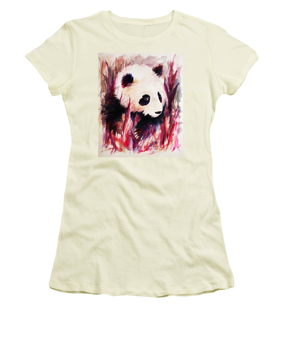 Panda Women's T-Shirt (Athletic Fit) featuring the painting Panda by Rachel Christine Nowicki