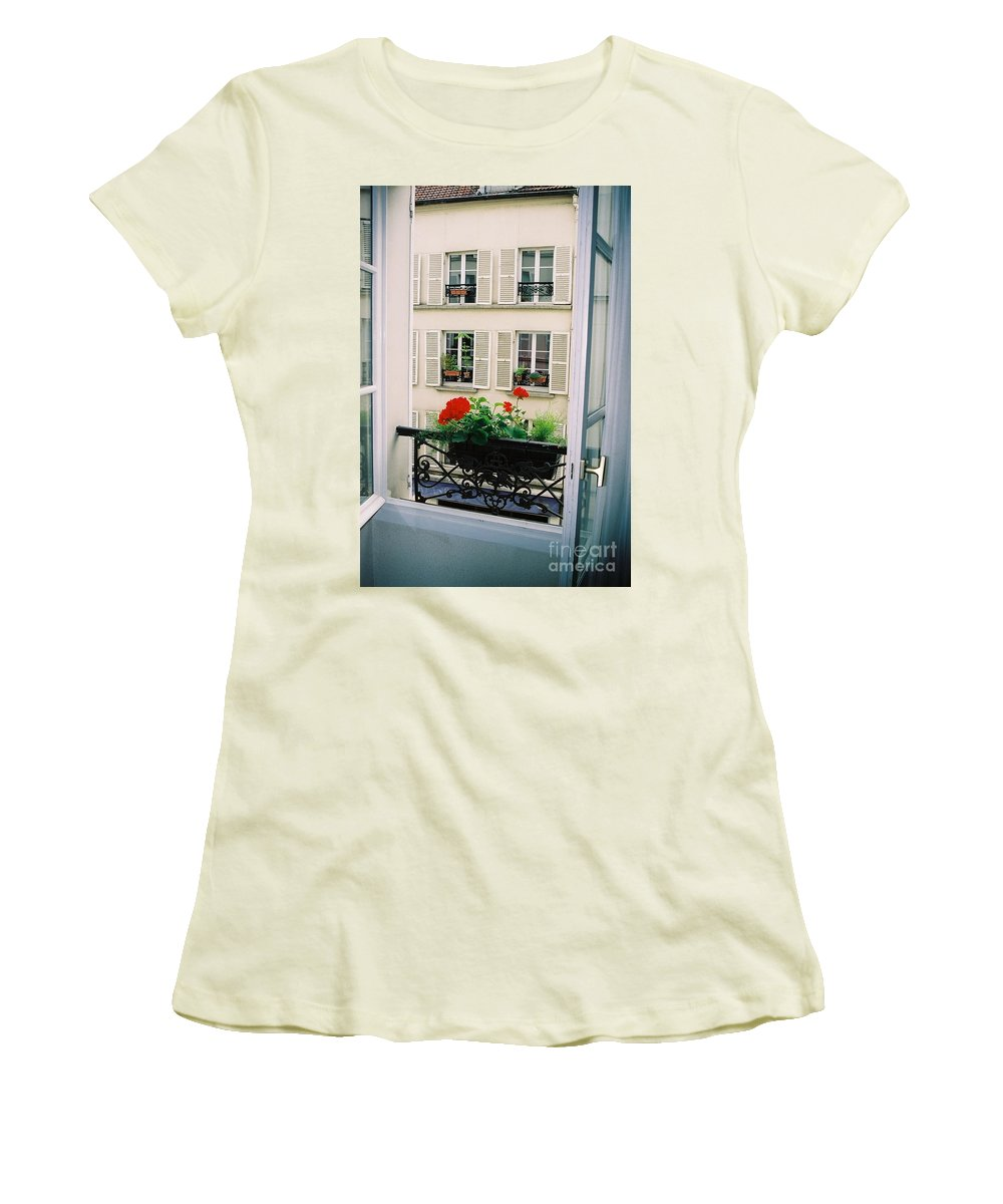 Window Women's T-Shirt (Athletic Fit) featuring the photograph Paris Day Windowbox by Nadine Rippelmeyer