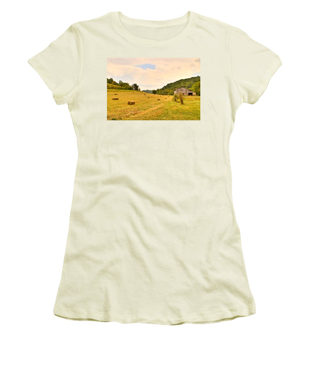 Pastorial Women's T-Shirt (Athletic Fit) featuring the photograph Pastorial Framland In Kentucky by Douglas Barnett