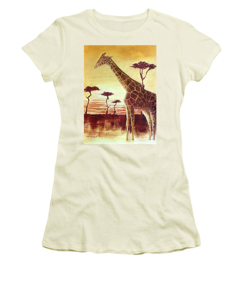 Animal Women's T-Shirt (Athletic Fit) featuring the painting Patches by Todd Blanchard