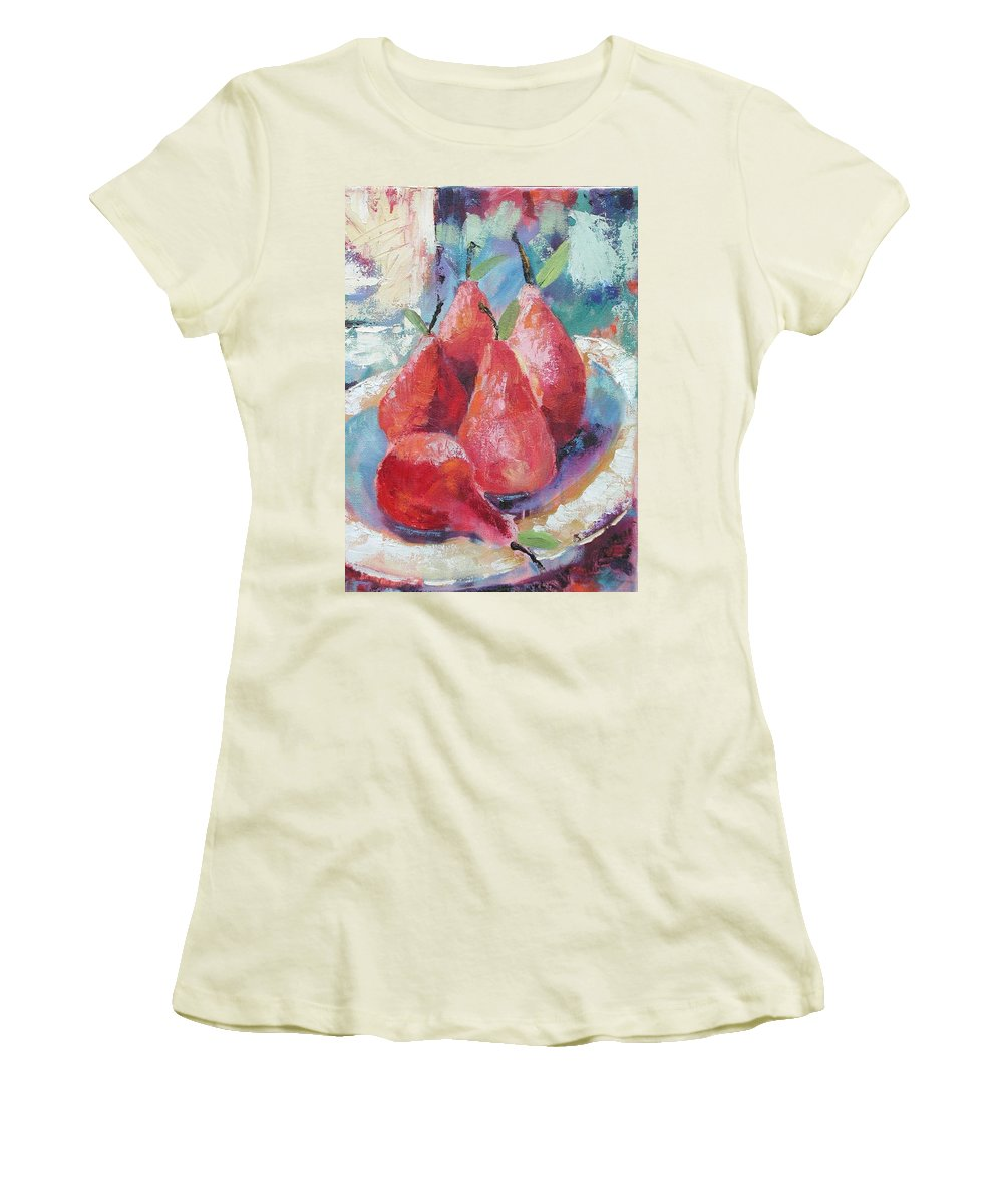Pears Women's T-Shirt (Athletic Fit) featuring the painting Pears by Ginger Concepcion