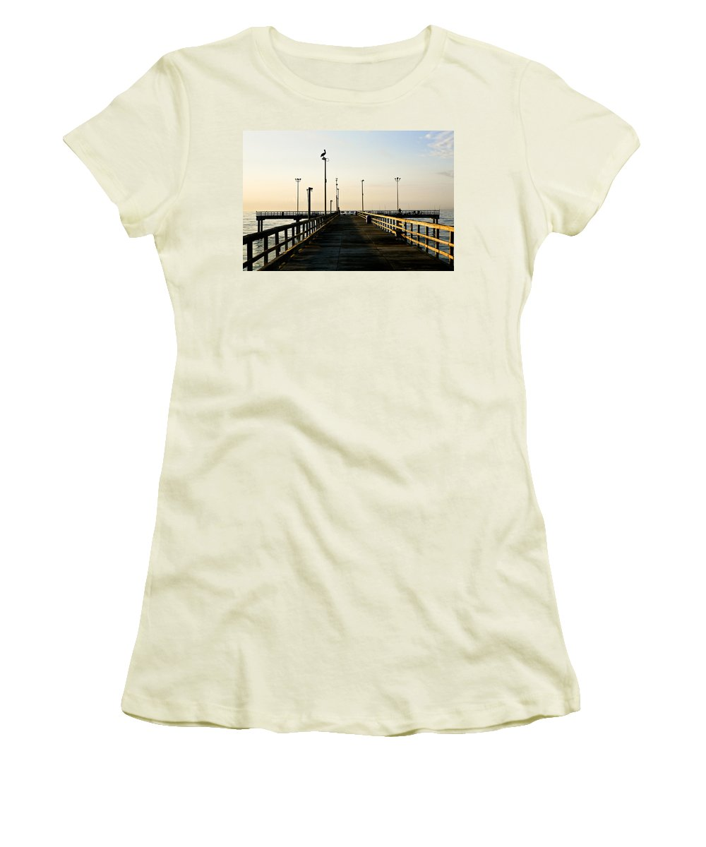 Pelican Women's T-Shirt (Athletic Fit) featuring the photograph Pelican Morning by Marilyn Hunt