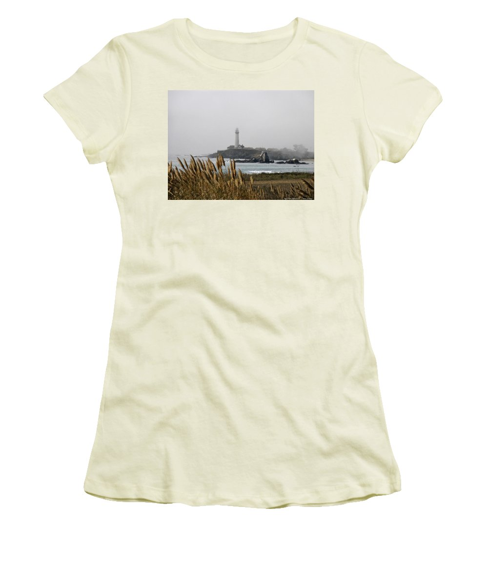 Landscape Women's T-Shirt (Athletic Fit) featuring the photograph Piegeon Point Lighthouse by Karen W Meyer