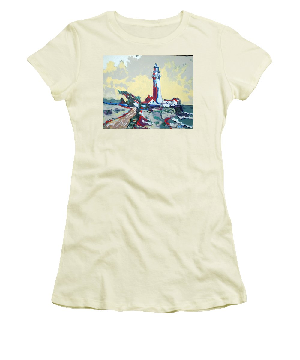 Ligthouse Women's T-Shirt (Athletic Fit) featuring the painting Pigeon Point by Kurt Hausmann