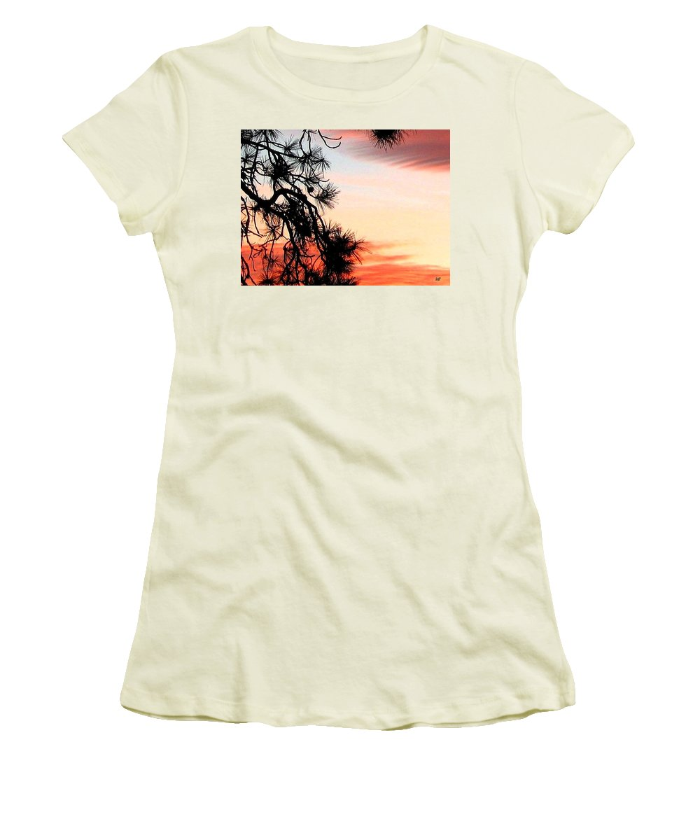 Sunset Women's T-Shirt (Athletic Fit) featuring the photograph Pine Tree Silhouette by Will Borden