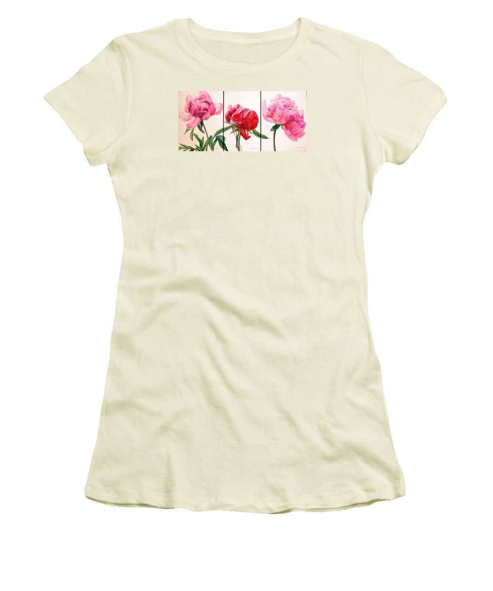 Floral Painting Women's T-Shirt (Athletic Fit) featuring the painting Pivoines by Muriel Dolemieux