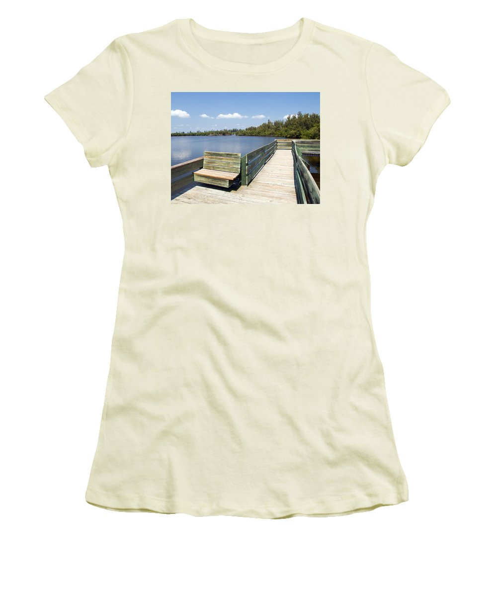 Kayak; Canoe; Florida; Round; Island; St; Saint; Lucie; County; Vero; Beach; Indian. River; Estuary; Women's T-Shirt (Athletic Fit) featuring the photograph Place For Fishing Or Just Sitting At Round Island In Florida by Allan Hughes