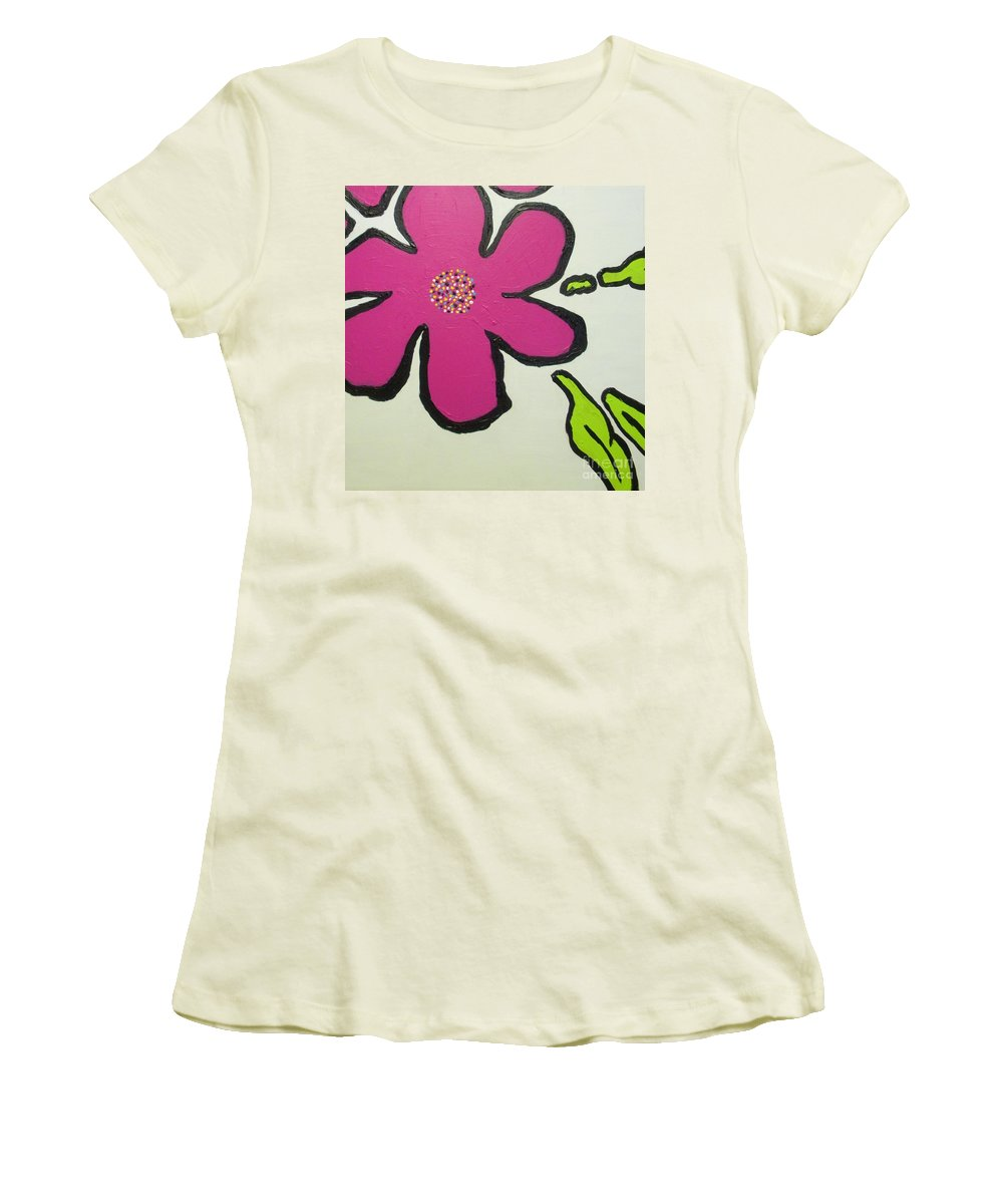 Flower Women's T-Shirt (Athletic Fit) featuring the painting Pop Art Pansy by Maria Bonnier-Perez