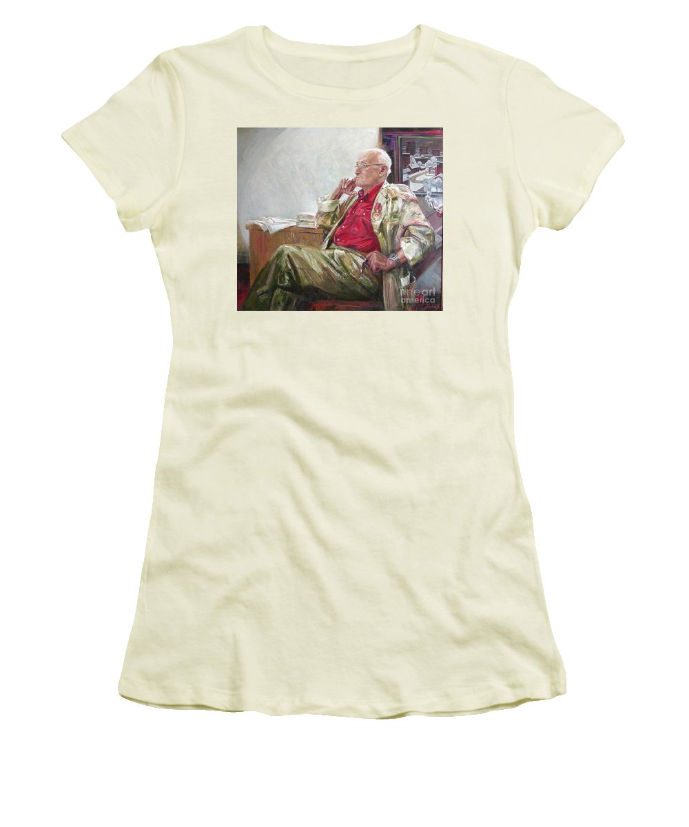 Oil Women's T-Shirt (Athletic Fit) featuring the painting Portrait Of May Dancig by Sergey Ignatenko