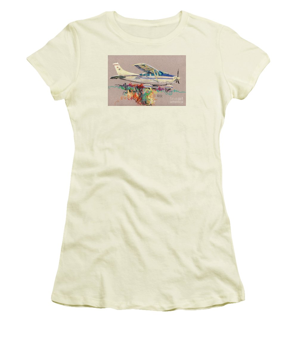 Small Plane Women's T-Shirt (Athletic Fit) featuring the drawing Private Plane by Donald Maier