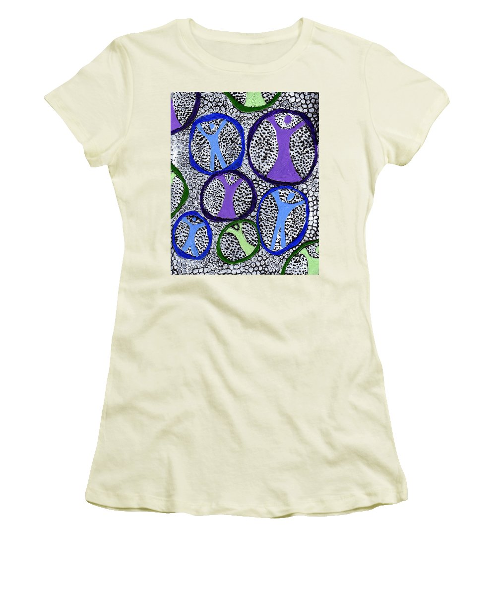 Symbolic Women's T-Shirt (Athletic Fit) featuring the painting Protection Isolation by Wayne Potrafka