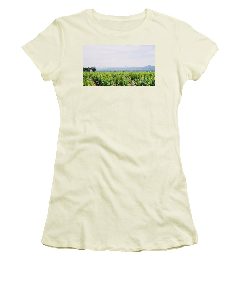 France Women's T-Shirt (Athletic Fit) featuring the photograph Provence Spring Vineyard by Nadine Rippelmeyer