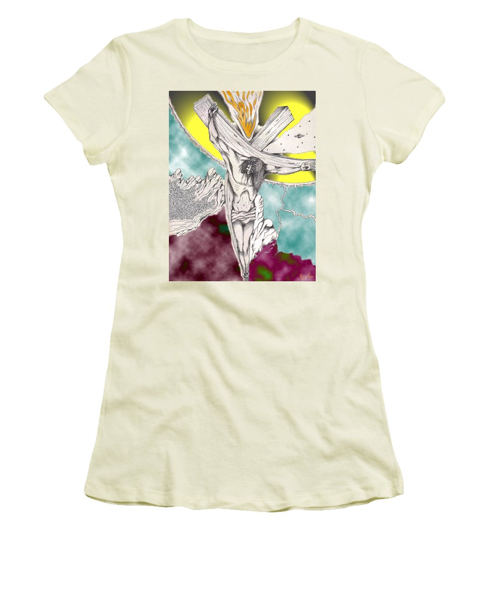Spiritual Women's T-Shirt (Athletic Fit) featuring the digital art Psalm 22 Ch 13-15... by Marco Morales