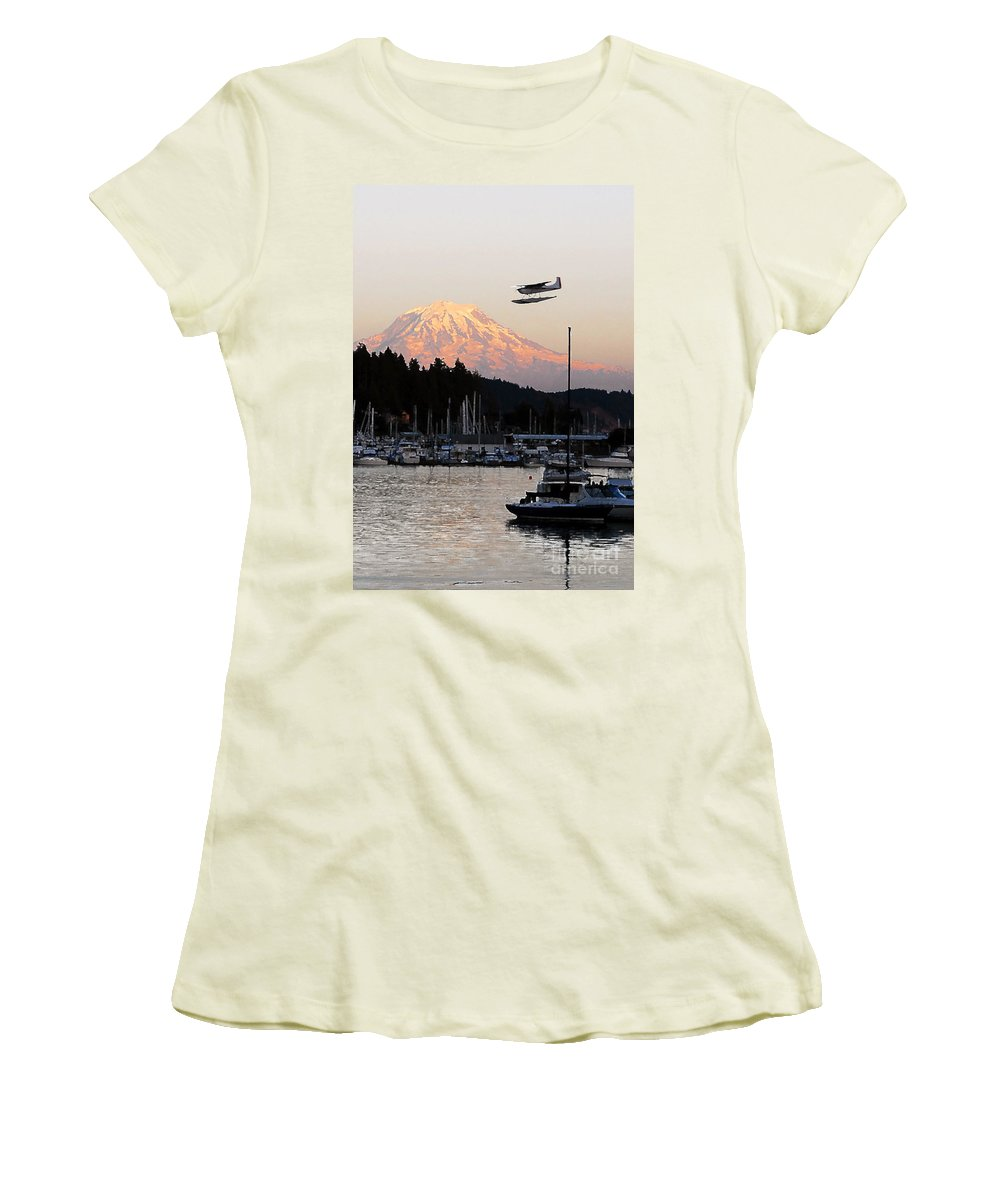 Puget Sound Women's T-Shirt (Athletic Fit) featuring the photograph Puget Sound Landing by David Lee Thompson