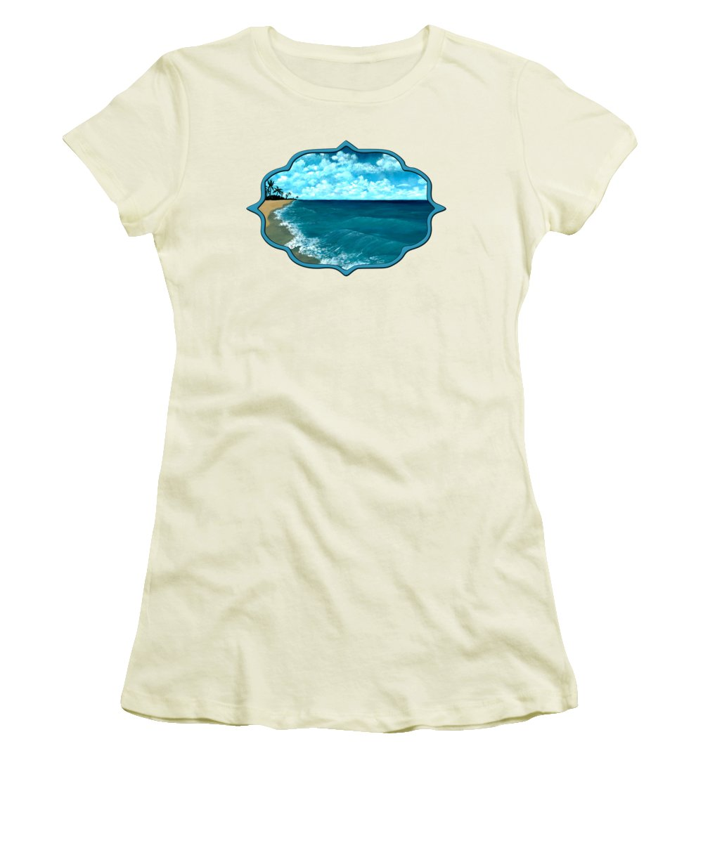 Blue Women's T-Shirt (Athletic Fit) featuring the painting Punta Cana Beach by Anastasiya Malakhova