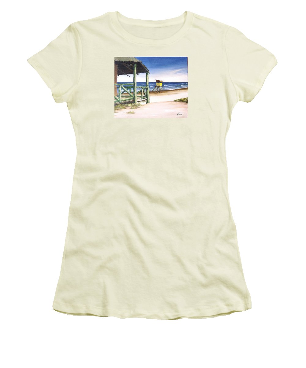 Seascape Beach Landscape Water Ocean Women's T-Shirt (Athletic Fit) featuring the painting Punta Del Diablo S Morning by Natalia Tejera