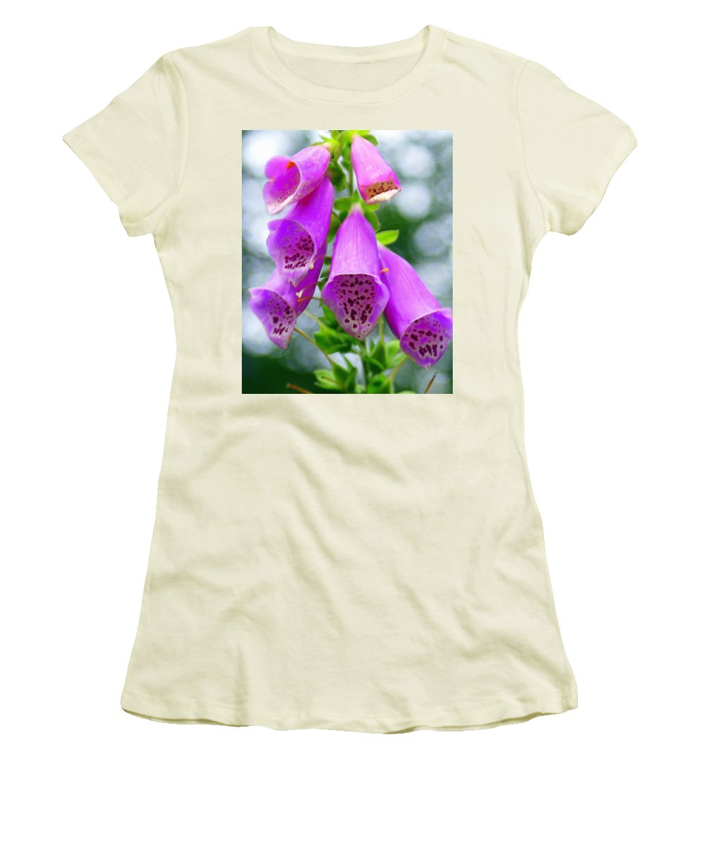 Flowers Women's T-Shirt (Athletic Fit) featuring the photograph Purple Bells by Marty Koch