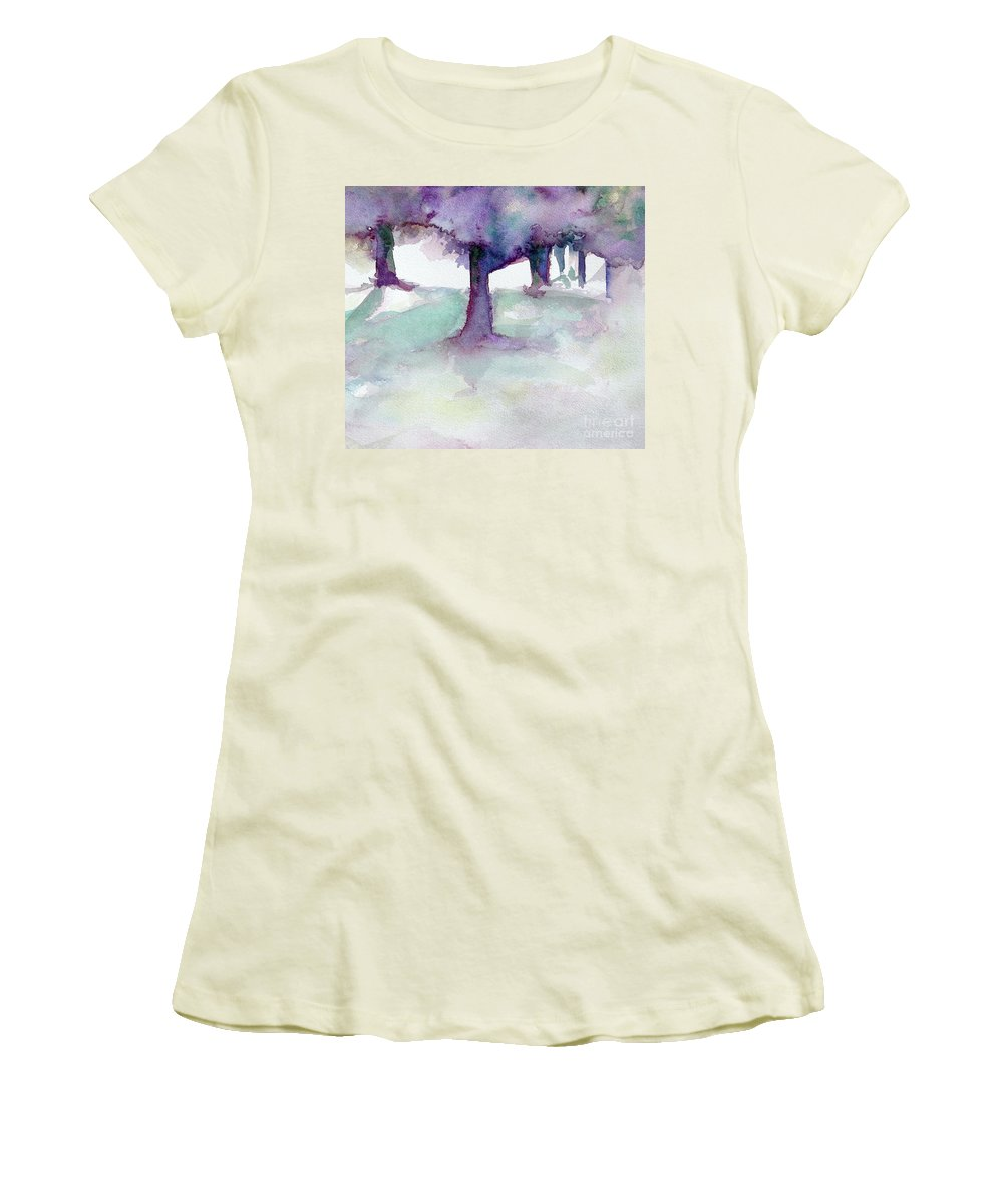 Landscape Women's T-Shirt (Athletic Fit) featuring the painting Purplescape II by Jan Bennicoff
