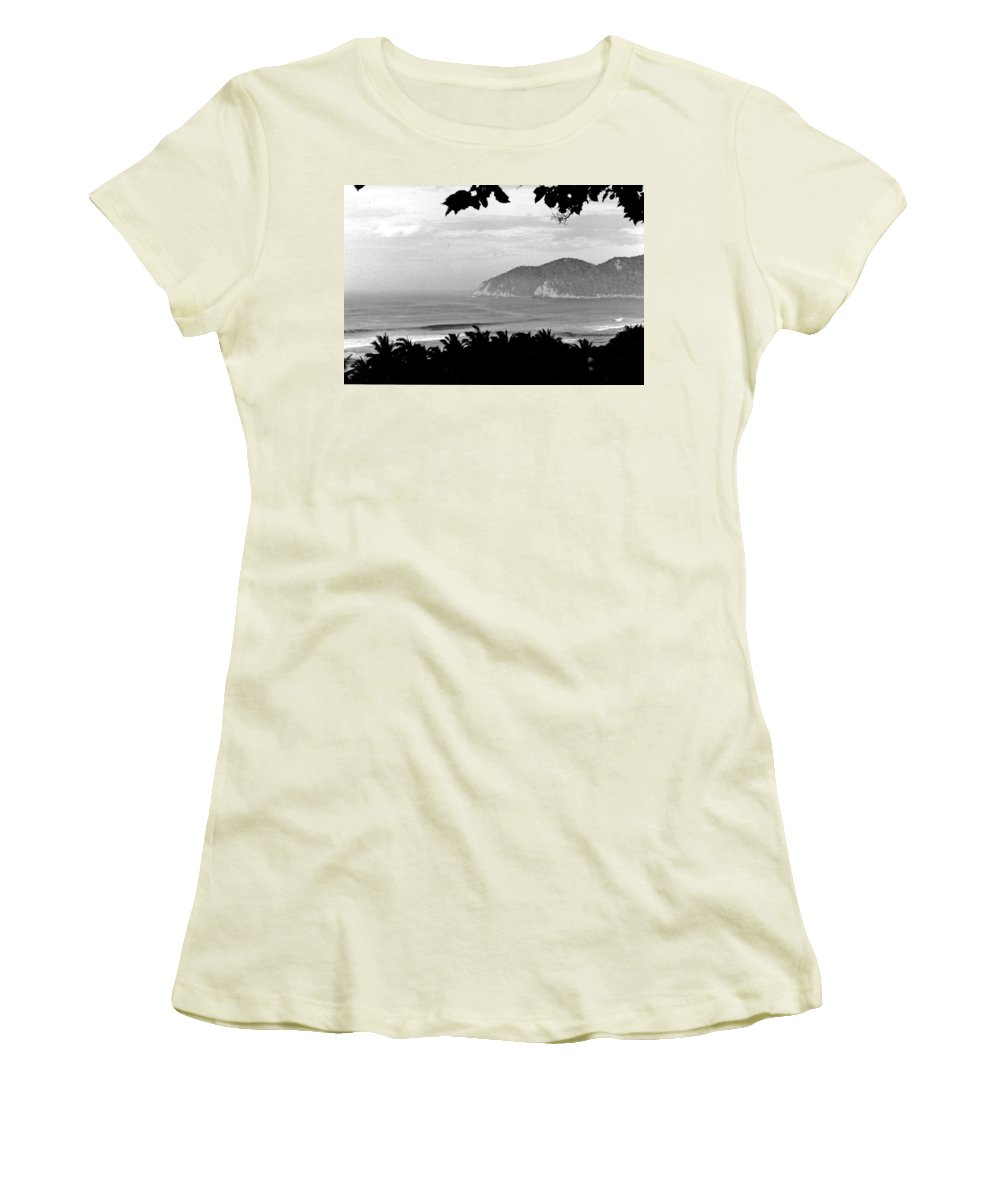 Black And White Women's T-Shirt (Athletic Fit) featuring the photograph Quite Cove by Wayne Potrafka