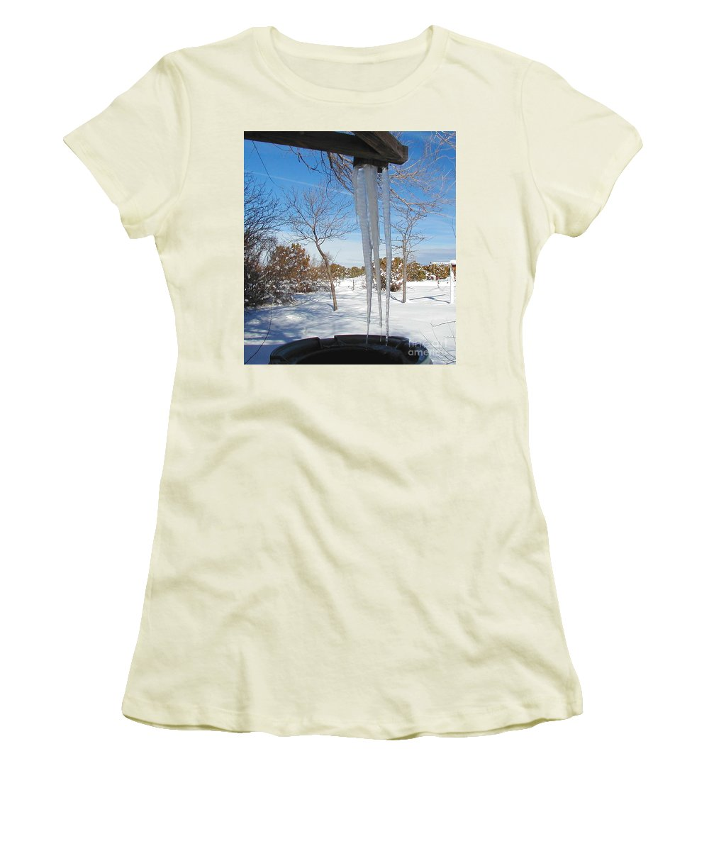 Icicle Women's T-Shirt (Athletic Fit) featuring the photograph Rain Barrel Icicle by Diana Dearen