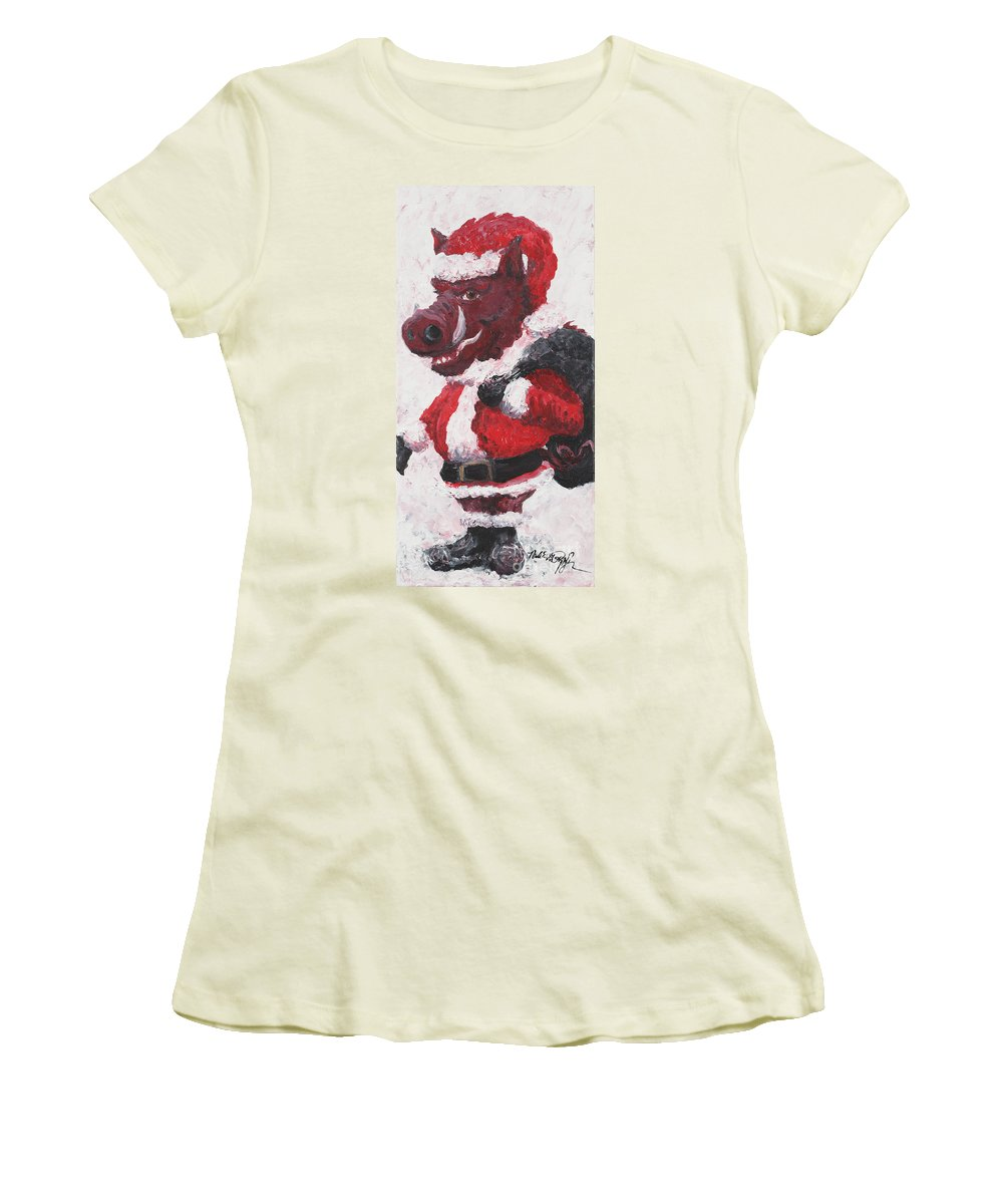 Santa Women's T-Shirt (Athletic Fit) featuring the painting Razorback Santa by Nadine Rippelmeyer