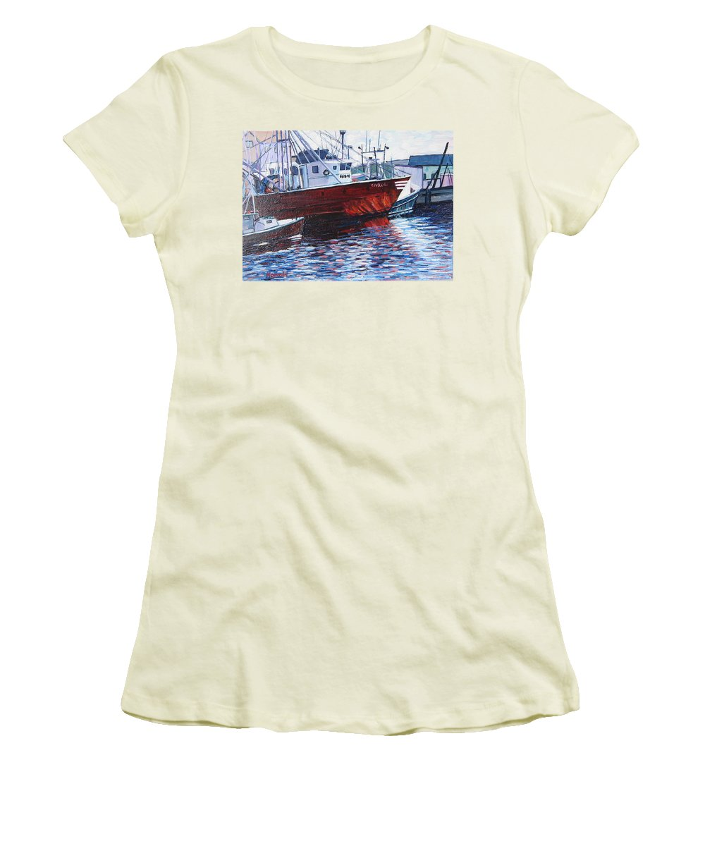 Boats Women's T-Shirt (Athletic Fit) featuring the painting Red Boats by Richard Nowak