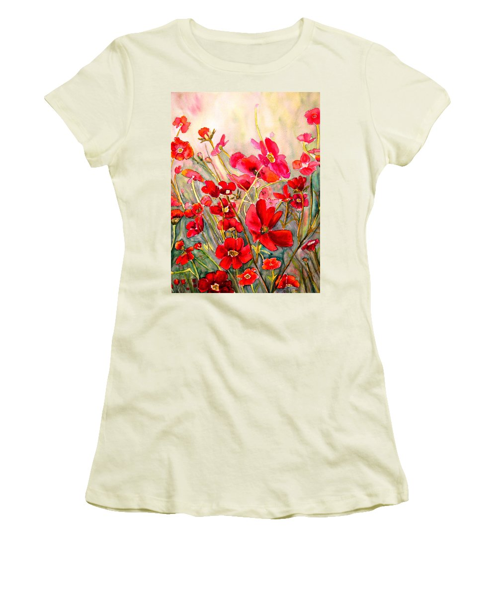 Poppies Women's T-Shirt (Athletic Fit) featuring the painting Red Poppies by Carole Spandau