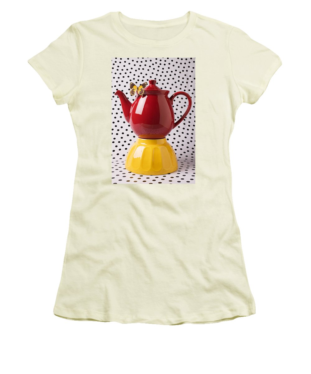 Yellow Women's T-Shirt (Athletic Fit) featuring the photograph Red Teapot With Butterfly by Garry Gay